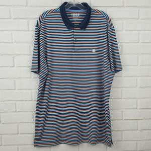 Izod Golf Stretch Striped Poly Blend Polo Shirt